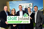 10-4-2018: Minister of State for Tourism and Sport, Brendan Griffin T.D., welcomed 35 of the world's top international golf tour operators to Killarney for Fáilte Ireland's 2018 Golf Ireland Convention, a showcase of the country's top-class golfing experiences on Tuesday. Photo shows Peter Wortmann, Irish Golf,  Karolett Mulligan, Failte Ireland, John McLaughlin, North & West Coast links, Brenda Murray, Oranmore Lodge Hotel and David Wensley, Galway Bay Resort Hotel at the Great Southern Hotel, Killarney on Tuesday. <br /> Photo: Don MacMonagle<br /> <br /> pr photo photo Failte Ireland<br /> further information sarah.dolly@failteireland.ie