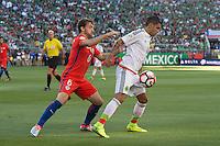 Action photo during the match Mexico vs Chile, Corresponding to the quarterfinals of the America Cup Centenary 2016 at Levis Stadium.<br /> <br /> Foto de accion durante el partido Mexico vs Chile, Correspondiente a los Cuartos de Final de la Copa America Centenario 2016, en el Estadio Levis, en la foto: (i-d) Jose Pedro Fuenzalida de Chile y Jesus Manuel Corona de Mexico<br /> <br /> <br /> 18/06/2016/MEXSPORT/Jorge Martinez.