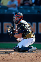 Aberdeen IronBirds catcher Adley Rutschman (35) checks the runner during a NY-Penn League game against the Vermont Lake Monsters on August 18, 2019 at Leidos Field at Ripken Stadium in Aberdeen, Maryland.  Vermont defeated Aberdeen 6-5.  (Mike Janes/Four Seam Images)