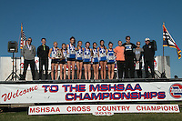 The Notre Dame girls post for photos after their 3rd-place finish in Class 3 at the 2015 MSHSAA State Cross Country Championships.