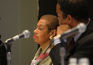 "September 21, 2011  (Washington, DC)  Delegate Eleanor Holmes Norton (DC) (left) listens at a breakout session of the 41st Annual Legislative Conference of the Congressional Black Caucus Foundation.  The theme of the session was ""Black Power and the 2010 Census: Changing Faces and Changing Places in Urban Communities""  (Photo by Don Baxter/Media Images International)"