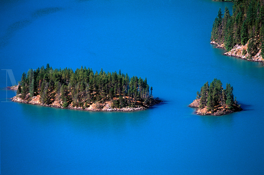 Islands in Diablo Lake, Cascade Mountains, Newhalem, Washington, USA