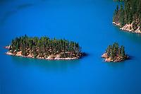 Islands in Diablo Lake, Cascade Mountains, Newhalem, Washington, USA