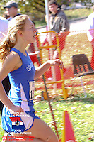 Westminster Christian's Laura Tarantino runs to the finish of the Class 3 District 2 race in 19:59.