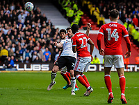 Derby County's forward David Nugent (28) cuhions a header during the Sky Bet Championship match between Nottingham Forest and Derby County at the City Ground, Nottingham, England on 10 March 2018. Photo by Stephen Buckley / PRiME Media Images.