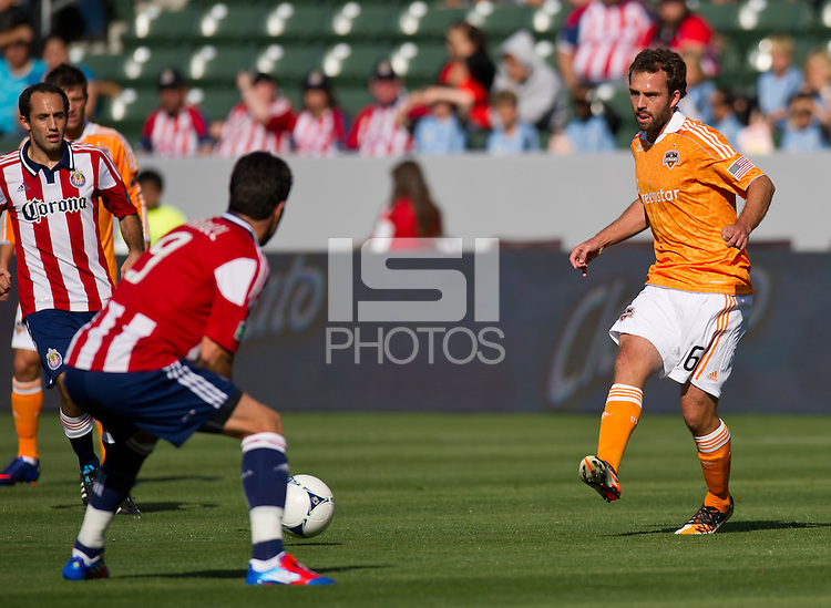 CARSON, CA - March 11, 2012: Houston Dynamo midfielder Adam Moffat during the Chivas USA vs Houston Dynamo match at the Home Depot Center in Carson, California. Final score Houston Dynamo 1, Chivas USA 0.