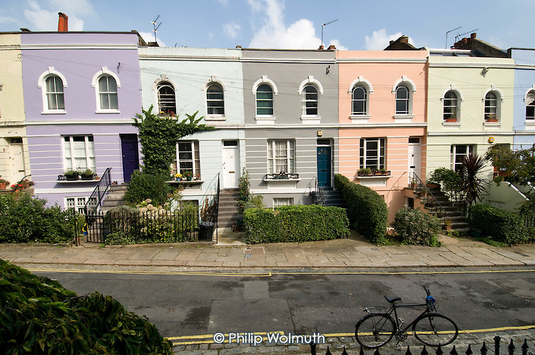 Brightly painted Victorian terrace houses in Camden Town