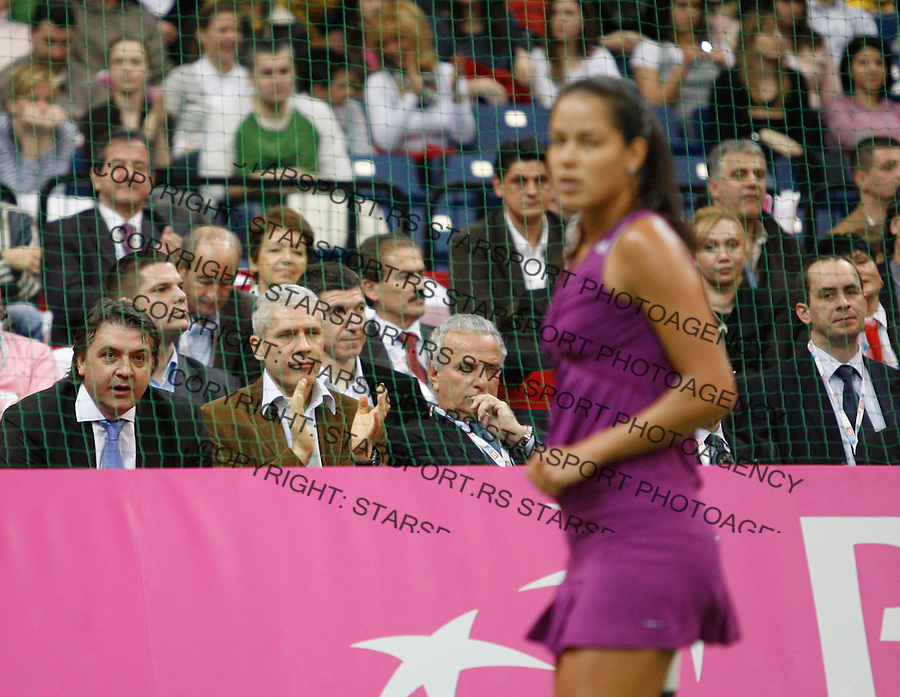 Tenis, FED CUP, world group B.Serbia Vs. Japan.Ana Ivanovic Vs. Ai Sugiyama.Ana Ivanovic, President of Serbian tennis federation Slobodan Zivojinovic, left, President of Serbia Boris Tadic, center and President of ITF Francesko Ricci Bitti, right.Beograd, 07.02.2009. .Photo: © Srdjan Stevanovic/Starsportphoto.com