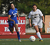 St. Anthony's No. 9 Sabrina Cristodero, right, gets ready to shoot on goal as Kellenberg No. 16  chases after her during the NSCHSAA varsity girls' soccer Class AA championship played at St. John the Baptist High School on Thursday, October 29, 2015. Cristodero scored the first two goals of the game to lead St. Anthony's to a 3-0 win.<br /> <br /> James Escher