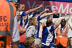 Home supporters venting their fury at referee Kevin Friend at the end of the first half at St. Andrew's stadium, during Birmingham City's Barclay's Premier League match with Wolverhampton Wanderers. Both clubs were battling against relegation from  England's top division. The match ended in a 1-1 draw, watched by a crowd of 26,027.