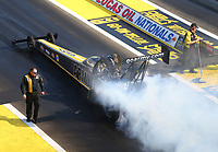 Aug 19, 2017; Brainerd, MN, USA; NHRA top fuel driver Tony Schumacher during qualifying for the Lucas Oil Nationals at Brainerd International Raceway. Mandatory Credit: Mark J. Rebilas-USA TODAY Sports