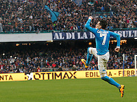 Napoli's Jose Callejon celebrates after scoring during the  italian serie a soccer match,between SSC Napoli and Empoli      at  the San  Paolo   stadium in Naples  Italy , January 31, 2016