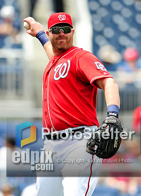 25 April 2010: Washington Nationals' first baseman Adam Dunn warms up prior to a game against the Los Angeles Dodgers at Nationals Park in Washington, DC. The Nationals shut out the Dodgers 1-0 to take the rubber match of their 3-game series. Mandatory Credit: Ed Wolfstein Photo