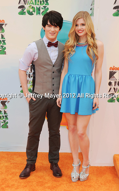 LOS ANGELES, CA - MARCH 31: Brad Kavanagh and Ana Mulvoy-Ten arrive at the 2012 Nickelodeon Kids' Choice Awards at Galen Center on March 31, 2012 in Los Angeles, California.