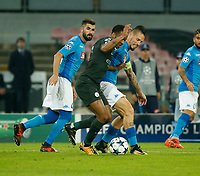 Raheem SterlingMarek Hamsik  during the Champions League Group  soccer match between SSC Napoli - Manchester City   at the Stadio San Paolo in Naples 01 nov 2017