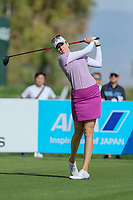 Kim Kaufman watches her drive off the 2nd tee during Round 3 at the ANA Inspiration, Mission Hills Country Club, Rancho Mirage, Calafornia, USA. {03/31/2018}.<br />