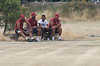 Oakfield players look on during Oakfield Parkonians CC (batting) vs Wickford CC, Shepherd Neame Essex League Cricket at Oakfield Playing Fields on 4th August 2018