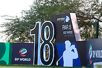 The 18th tee during the preview for the DP World Tour Championship at the Earth course,  Jumeirah Golf Estates in Dubai, UAE,  18/11/2015.<br /> Picture: Golffile | Thos Caffrey<br /> <br /> All photo usage must carry mandatory copyright credit (© Golffile | Thos Caffrey)