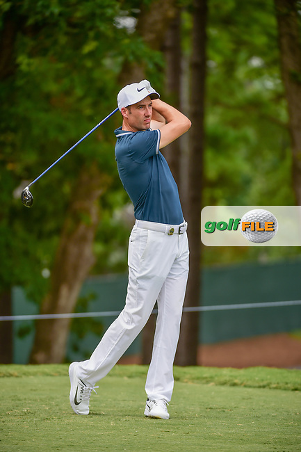 Ross Fisher (ENG) watches his tee shot on 5 during Thursday's round 1 of the PGA Championship at the Quail Hollow Club in Charlotte, North Carolina. 8/10/2017.<br /> Picture: Golffile | Ken Murray<br /> <br /> <br /> All photo usage must carry mandatory copyright credit (&copy; Golffile | Ken Murray)