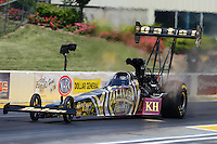 May 19, 2012; Topeka, KS, USA: NHRA top fuel dragster driver Khalid Albalooshi during qualifying for the Summer Nationals at Heartland Park Topeka. Mandatory Credit: Mark J. Rebilas-