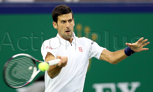 13.10.2016. Shanghai, China.  Novak Djokovic of Serbia returns the ball during the third round singles match against Canadian Vasek Pospisil at the Shanghai Masters tennis tournament in Shanghai, east China, Oct. 13, 2016. Djokovic won 2-0.