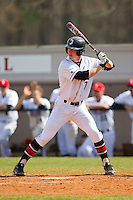 Nathan Becker (7) of the Davidson Wildcats at bat against the Western Carolina Catamounts at Wilson Field on March 10, 2013 in Davidson, North Carolina.  The Catamounts defeated the Wildcats 5-2.  (Brian Westerholt/Four Seam Images)