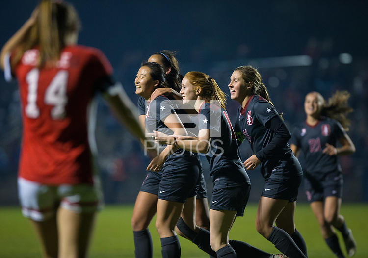 STANFORD, CA - November 9, 2018: Michelle Xiao, Beattie Goad, Jordan DiBiasi, Sam Hiatt, Jojo Harber at Laird Q. Cagan Stadium. The top seeded Stanford Cardinal defeated the Seattle Redhawks 3-0 in the opening round of the NCAA tournament.