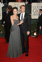 ANGELINA JOLIE &amp; BRAD PITT<br /> Red Carpet Arrivals - 64th Annual Golden Globe Awards, Beverly Hills HIlton, Beverly Hills, California, USA, January 15th 2007.<br /> globes full length strapless grey dress wrap couple<br /> CAP/PL<br /> &copy;Phil Loftus/Capital Pictures /MediaPunch ***NORTH AND SOUTH AMERICAS ONLY***