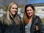 North Merrick, New York, USA. March 31, 2018. L-R, SUE MOLLER, the Co-President of North and Central Merrick Civic Association; and ALISON FRANKEL, the President of South Bellmore Civic Association, pose for photo at the 16th Annual Eggstravaganza, held at Fraser Park. Event was co-hosted by NCMCA and American Legion Auxiliary Unit 1282.