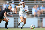 21 August 2016: North Carolina's Morgan Goff (14) and Charlotte's Kaitlin Walker (17). The University of North Carolina Tar Heels hosted the University of North Carolina Charlotte 49ers in a 2016 NCAA Division I Women's Soccer match. UNC won the game 3-0