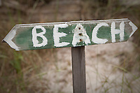 A Beach sign is pictured in Ocean Beach on Fire Island in New York state, Wednesday August 3, 2011. The incorporated villages of Ocean Beach and Saltaire within Fire Island National Seashore are car-free during the summer tourist season and permit only pedestrian and bicycle traffic.