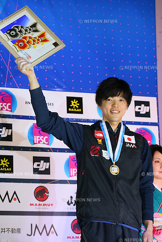 Kokoro Fujii (JPN), <br /> APRIL 24, 2016 - Sports Climbing : <br /> IFSC Climbing World Cup - Bouldering Kazo 2016 <br /> Men's Award Ceremony <br /> at Kazo Civic Gymnasium, Saitama, Japan. <br /> (Photo by YUTAKA/AFLO SPORT)
