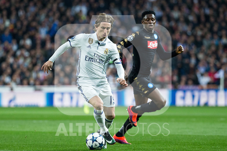 Luka Modric of Real Madrid in action during the match of Champions League between Real Madrid and SSC Napoli  at Santiago Bernabeu Stadium in Madrid, Spain. February 15, 2017. (ALTERPHOTOS)