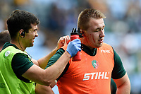 Joe Heyes of Leicester Tigers has his cut ear cleaned during the pre-match warm-up. Gallagher Premiership match, between Wasps and Leicester Tigers on September 16, 2018 at the Ricoh Arena in Coventry, England. Photo by: Patrick Khachfe / JMP