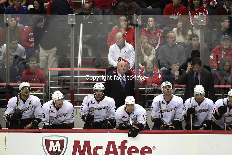 WASHINGTON DC, DECEMBER 23: Anaheim Ducks Bench pictured during a regular season NHL game between the Anaheim Ducks and the Washington Capitals at the Verizon Center in Washington, DC on December 23, 2013. .<br />