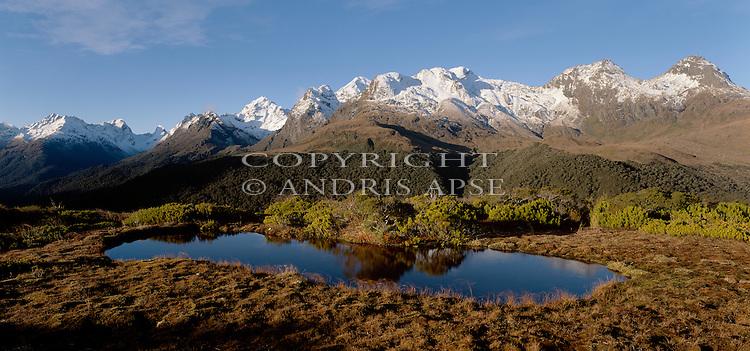 Early morning at Key Summit. Mount Aspiring National Park. New Zealand.