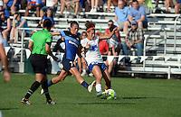 Kansas City, MO - Sunday August 28, 2016: Mandy Laddish, Angela Salem during a regular season National Women's Soccer League (NWSL) match between FC Kansas City and the Boston Breakers at Swope Soccer Village.