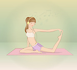 Illustration of young woman performing yoga on mat