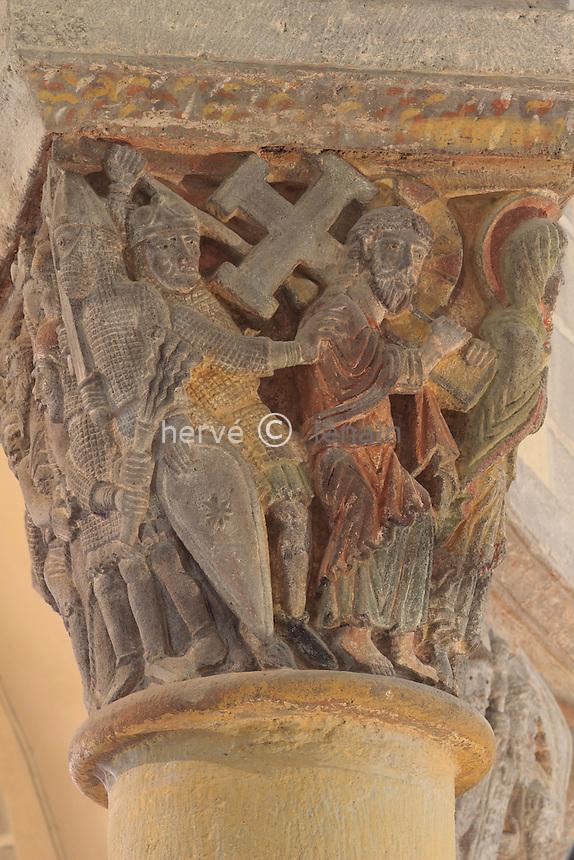 France, Puy-de-Dôme,Saint-Nectaire, l'église Saint-Nectaire, chapitaux du choeur, le Portement de Croix // France, Puy de Dome,St Nectaire, St Nectaire church, painted capital in the coir