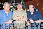 PINT: Tom Crowley, Tommy O'Donnell and DC Nolan drink their last pint in the old Baily's Corner on Saturday as Baily's moves to Old Harty's Bar & Restaurant, castle Street, Tralee on Monday..