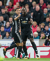 Romelu Lukaku of Man Utd celebrates the second goal with Matteo Darmian of Man Utd during the Premier League match between Stoke City and Manchester United at the Britannia Stadium, Stoke-on-Trent, England on 9 September 2017. Photo by Andy Rowland.
