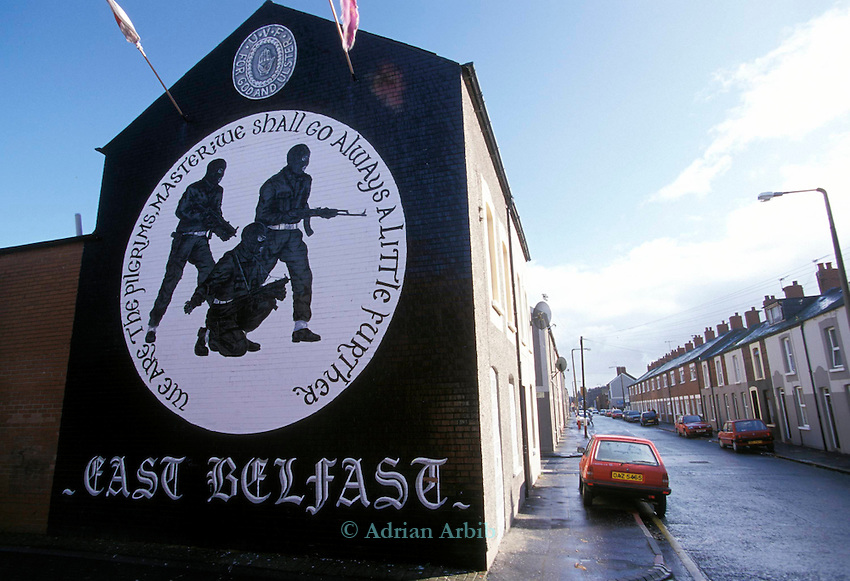 Murals painted by the Protestant community in Belfast, Northern Ireland.