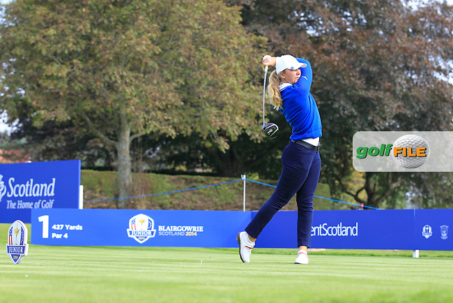 Linnea Strom (SWE) on the 1st tee of the Mixed Fourballs during the 2014 JUNIOR RYDER CUP at the Blairgowrie Golf Club, Perthshire, Scotland. <br /> Picture:  Thos Caffrey / www.golffile.ie
