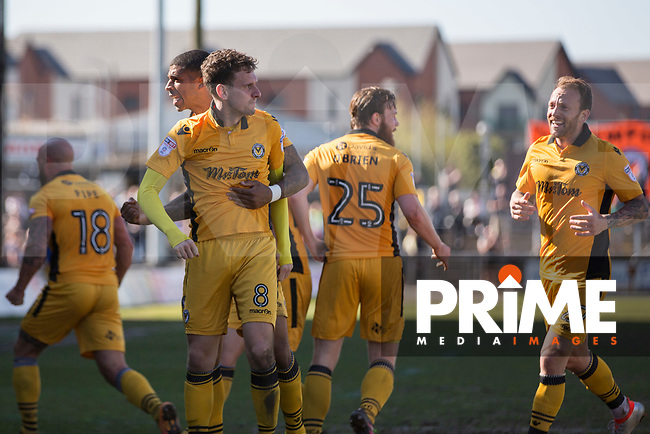 Mark Randall of Newport County celebrates his side's first goal during the Sky Bet League 2 match between Newport County and Accrington Stanley at Rodney Parade, Newport, Wales on 22 April 2017. Photo by Mark  Hawkins.