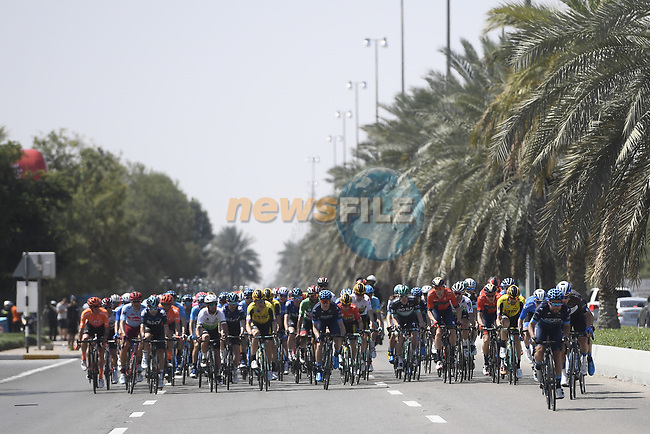 The start of Stage 3 of the 2019 UAE Tour, running 179km form Al Ain to Jebel Hafeet, Abu Dhabi, United Arab Emirates. 26th February 2019.<br /> Picture: LaPresse/Fabio Ferrari | Cyclefile<br /> <br /> <br /> All photos usage must carry mandatory copyright credit (© Cyclefile | LaPresse/Fabio Ferrari)