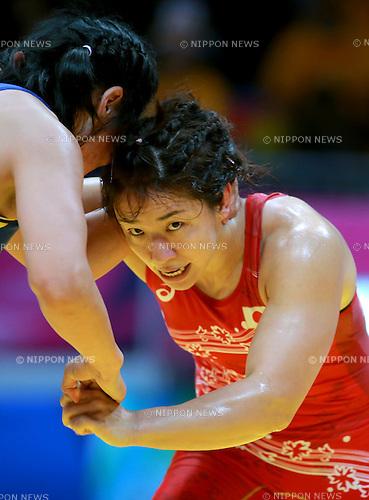 (R-L) Kyoko Hamaguchi (JPN), Burmaa Ochirbat (MGL),<br /> SEPTEMBER 28, 2014 - Wrestling :<br /> Women's Freestyle 75kg Bronze medal match at Dowon Gymnasium during the 2014 Incheon Asian Games in Incheon, South Korea. (Photo by Sachiko Hotaka/AFLO)