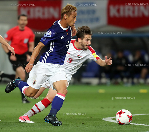 June 7, 2017, Tokyo, Japan - Japan's Keisuke Honda shoots the ball against Syria during a friendly match between Japan and Syria Kirin Challenge Cup in Tokyo on Wednesday, June 7, 2017. Japan and Syria drew the game 1-1.  (Photo by Yoshio Tsunoda/AFLO) LwX -ytd-