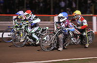 Heat 8 re-run: Stuart Robson (blue), Peter Ljung (red), Justin Sedgmen (white) and  Morten Risager (yellow) - Lakeside Hammers vs Swindon Robins, Elite League Speedway at the Arena Essex Raceway, Purfleet - 03/09/10 - MANDATORY CREDIT: Rob Newell/TGSPHOTO - Self billing applies where appropriate - 0845 094 6026 - contact@tgsphoto.co.uk - NO UNPAID USE.