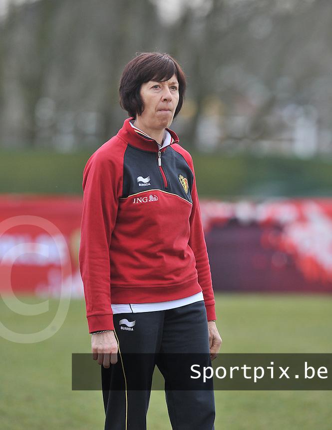 Denmark U17 - Belgium U17 : Belgium Coach Joelle Piron.foto DAVID CATRY / Vrouwenteam.be
