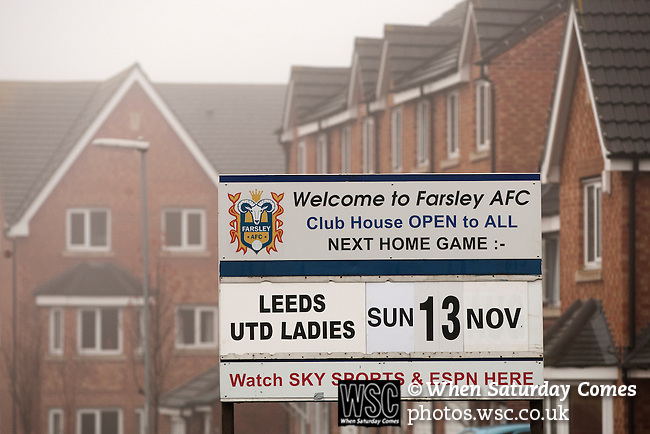 Leeds United Ladies 1 Nottingham Forest Ladies 1, 13/11/2011. Throstle Nest, FA Premier League National Division. An advertising sign outside the Throstle Nest, Farsley, West Yorkshire, home of Leeds United Ladies FC, on the day they played host to Nottingham Forest Ladies FC in an FA Premier League National Division fixture. The match ended in a one-all draw, watched by fewer than 50 spectators at the club's regular home ground. Formed in 1989, Leeds United Ladies has been one of England's top women's sides for most of the last ten years and played in the top winter league for ladies' teams. Photo by Colin McPherson.